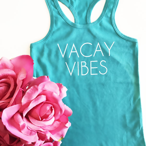 Kids Vacay Vibes Teal Racerback Tank