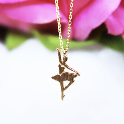 Dainty Gold Ballerina Necklace
