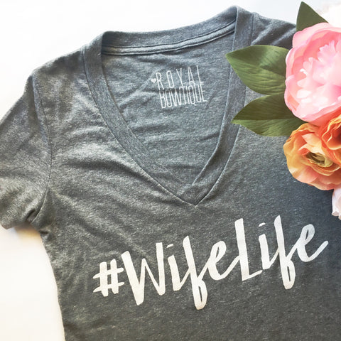 #WifeLife Fitted V-Neck Tee