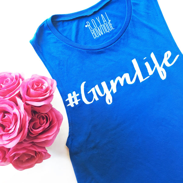 #GymLife Flowy Scoop Muscle Tank | Cobalt Blue