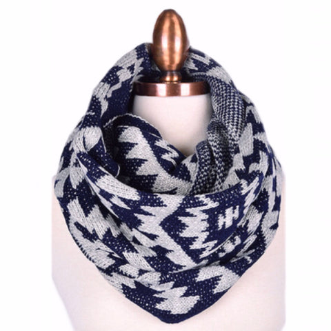 Tribal Infinity Scarf | Navy + Grey