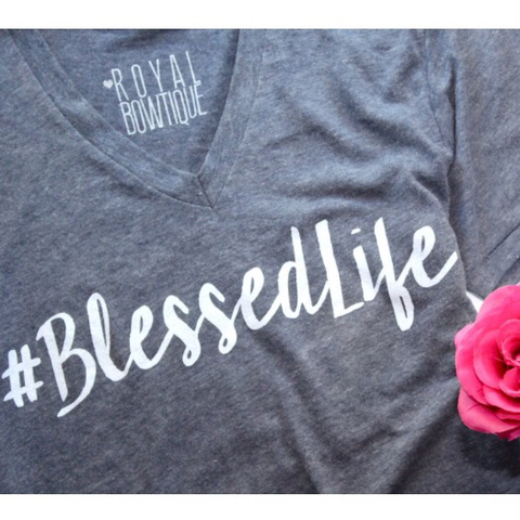 #BlessedLife Grey Boyfriend Fit V-Neck Tee