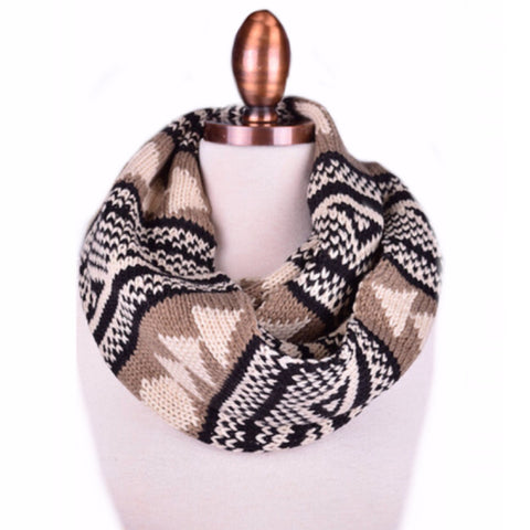 Tribal Infinity Scarf | Black + Tan