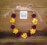 Maroon & Gold Lace Flower Crown