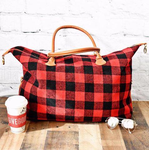 Red Plaid Weekender Bag Preorder