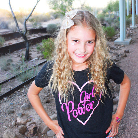 Girl Power Heart Kids Tee