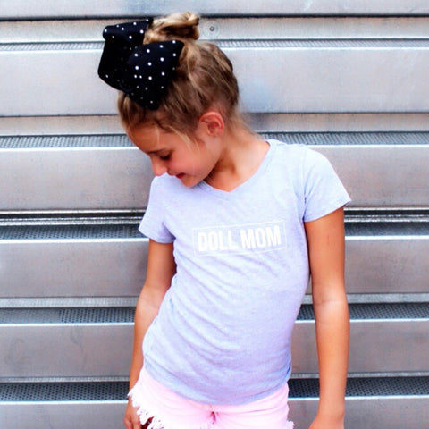 Doll Mom Grey Kids V Neck Tee