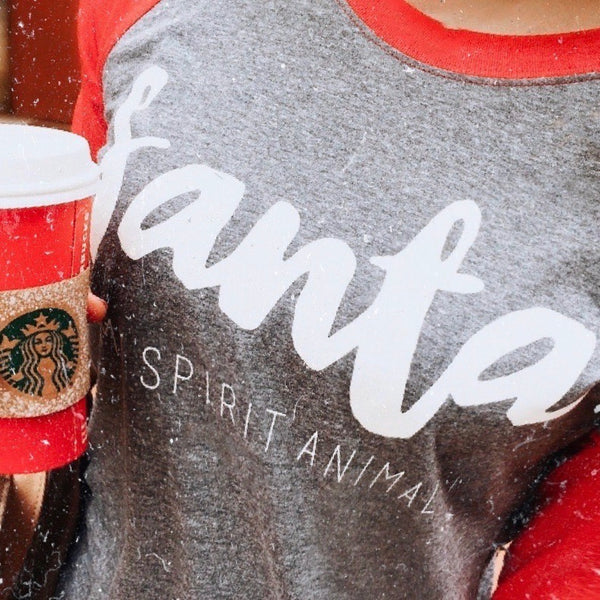 Santa Is My Spirit Animal Raglan Tee | UNISEX sizing