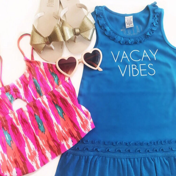 Kids Vacay Vibes Blue Tank Dress