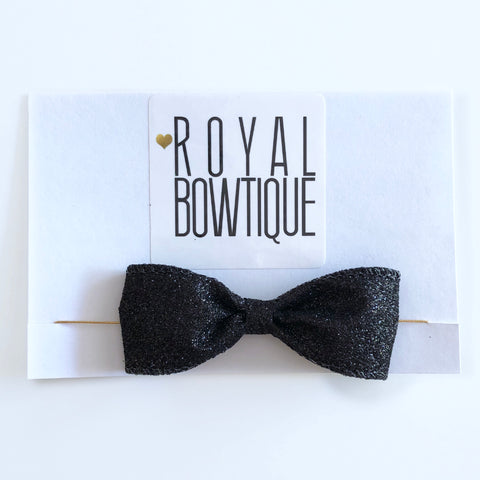 Mini Black Glitter Bow Headband