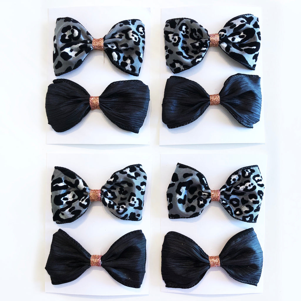 Black Satin and Grey Leopard Bow Set