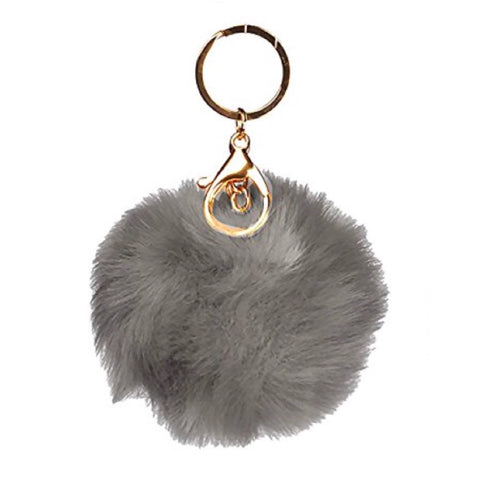 Puff Ball Grey Keychain