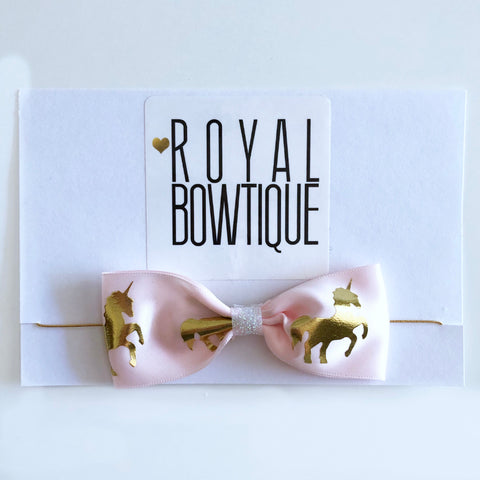 Mini Gold & Pink Unicorn Bow Headband