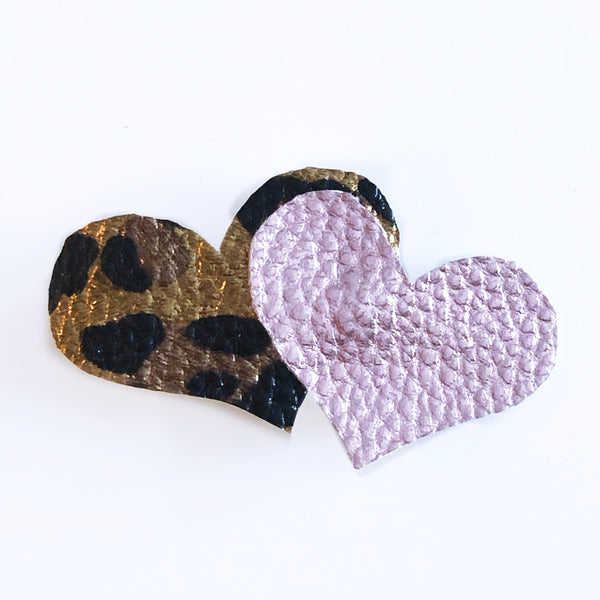 Leopard and Rose Gold Heart Clip