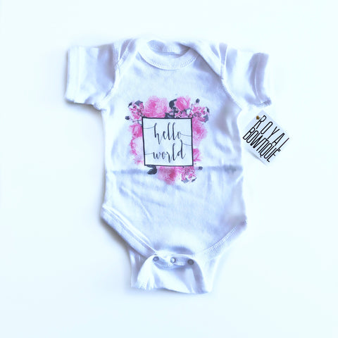 Hello World Floral Onesie (0-3 months)