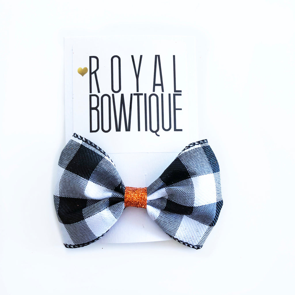 Black & White Plaid Bow with Orange Glitter