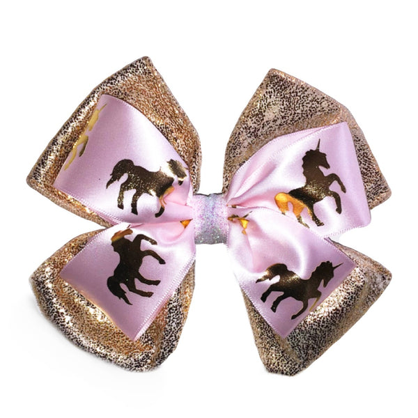 Gold & Pink Unicorn Bow