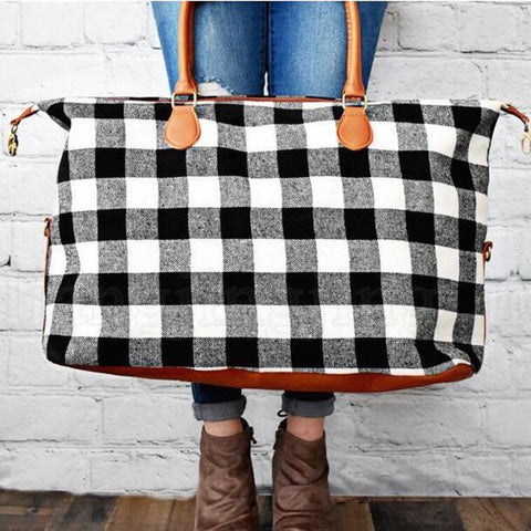 Black Plaid Weekender Bag Preorder