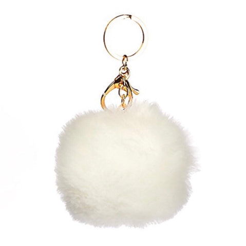 Puff Ball White Keychain