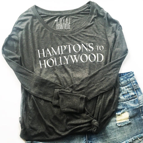 Hamptons to Hollywood Longsleeve Slouchy Off the Shoulder Tee
