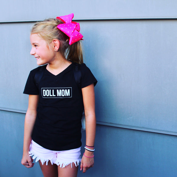 Doll Mom Black Kids V Neck Tee
