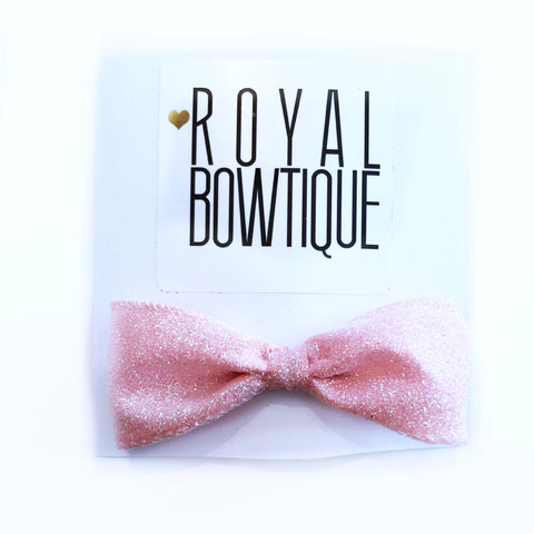 Mini Light Pink Glitter Bow