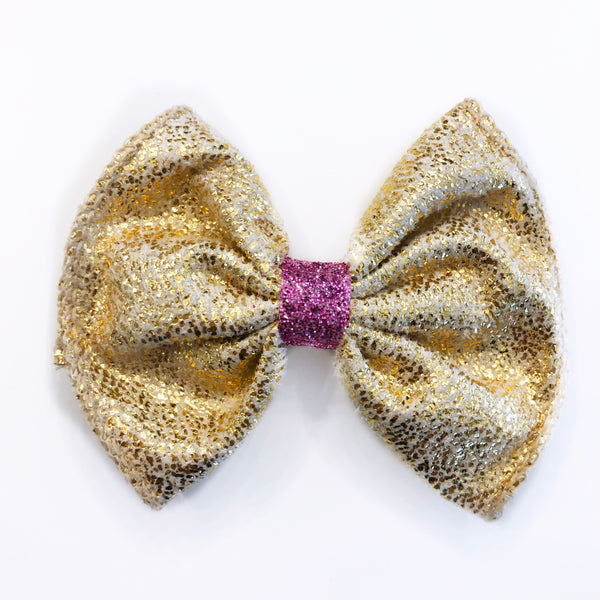 Mini Metallic Gold Bow with Pink Glitter