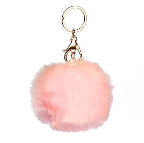Puff Ball Peach Keychain