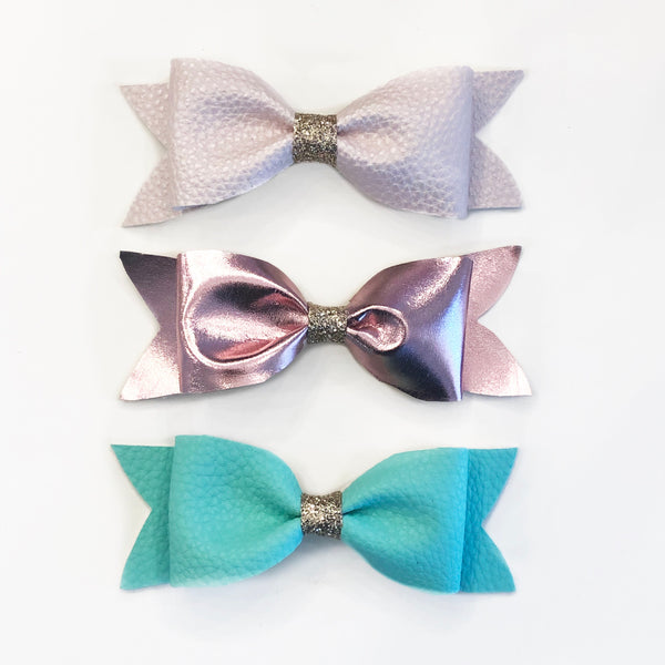Blush, Metallic Pink & Mint Bow Set