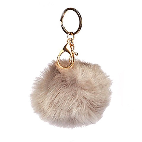 Puff Ball  Tan Keychain