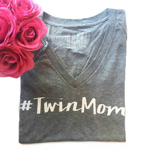 #TwinMom Grey Fitted V Neck Tee