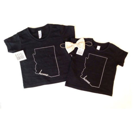 KIDS TEE | ARIZONA VINTAGE BLACK WITH WHITE INK