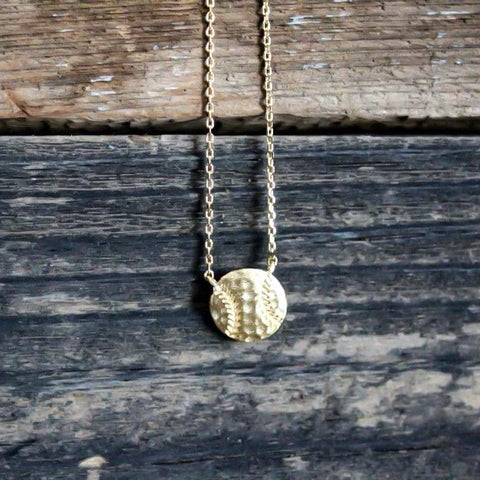 Dainty Gold Baseball Necklace
