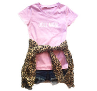 Doll Mom Light Pink Kids V Neck Tee