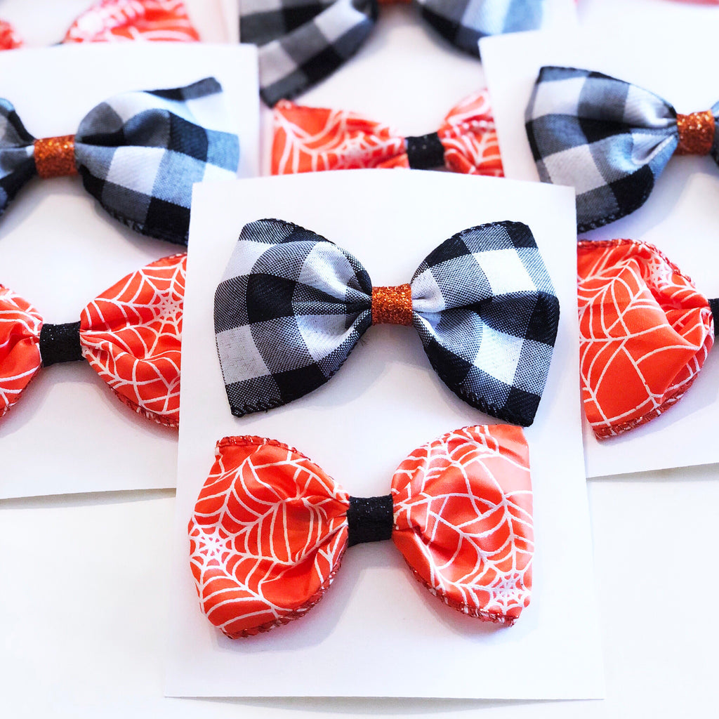 Black Plaid and Orange Web Bow Set
