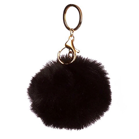 Puff Ball Black Keychain