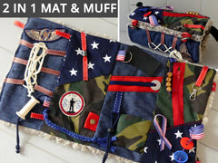 "VETERANS Design FIDGET MAT and MUFF COMBO for Dementia, Alzheimer's & Autism. Size: 18"" x 10"". Handmade with Soft Faux Fur Backing. (Free Shipping)"