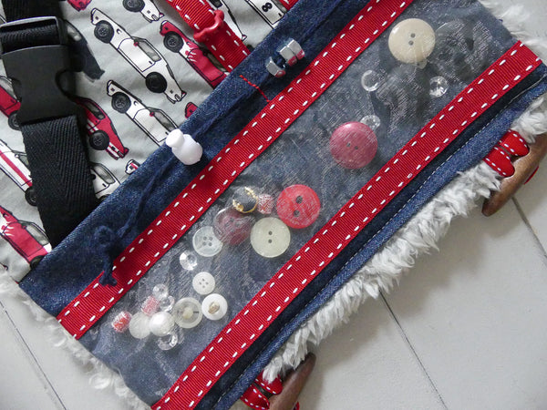 "FIDGET MAT & MUFF COMBO for Dementia, Alzheimer's & Autism. Size: 18"" x 10"". Handmade with Soft Faux Fur Backing. RACE CAR Design. (Free Shipping)"