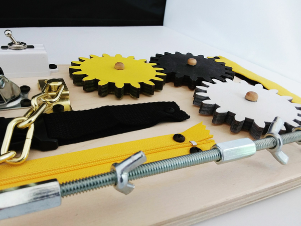 "Wooden Activity and Therapy Fidget Board with Gears for Dementia, Alzheimer's and Autism. Size: 15"" x 7.75"" Yellow & Black. Handmade in the U.S.A. FREE SHIPPING"