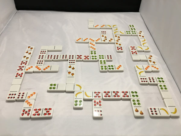 Dominoes Game for people with Dementia or Alzheimer's. Cognitive Therapy & Mental Stimulation. Match the FRUIT …not the Dots. Double Set for Double Fun. 56 Tiles - two complete sets of 28.