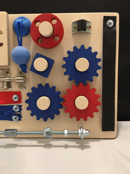 "Wooden Activity and Therapy Fidget Board with Gears for Dementia, Alzheimer's and Autism. Size: 15.5"" x 8"" Blue & Red. FREE SHIPPING"