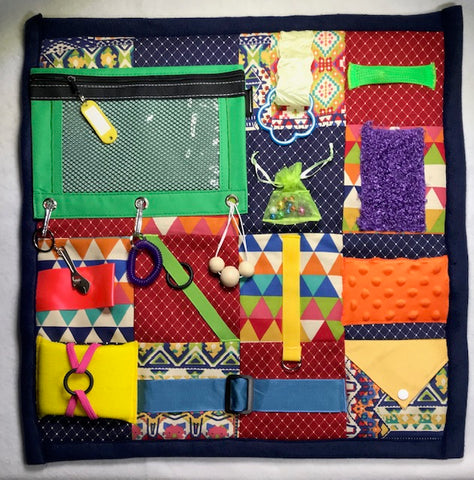 "Fidget Quilt Handmade in the U.S.A  designed for People with Memory Loss, Dementia or Alzheimer's. Size 21"" x 21"".  FREE SHIPPING"
