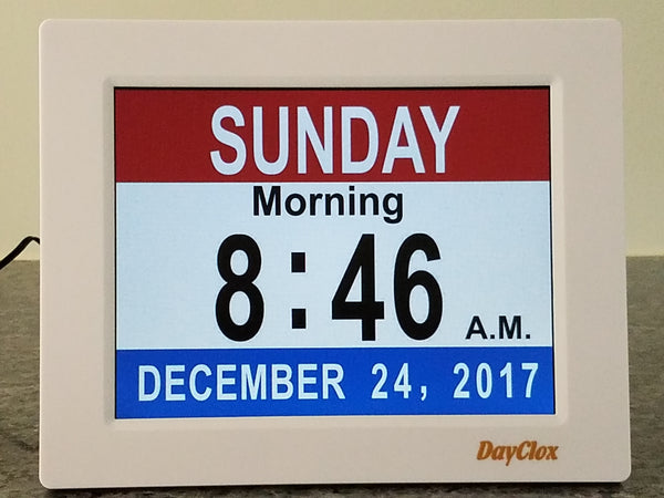 DayClox Memory Loss Digital Calendar 5-Cycle Clock with Red, White & Blue section Display