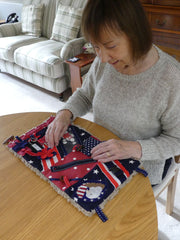 "The Secret Stitchery Fidget & Sensory Pad for Dementia, Alzheimer's & Autism. Size: 18"" x 10"" with Soft Faux Fur Backing. USA STARS & STRIPES Design ( Free Shipping)"