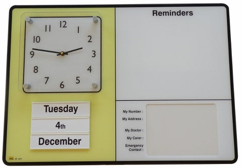 Personal Reminder Board w/ Emergency Contact Info / Built-in Clock / Dry Erase Board.