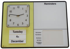 Personal Reminder Board w/ Emergency Contact Info / built-in Clock / Dry Erase Board. - The Senior Care Shop