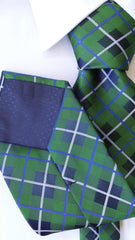 Green & blue plaid tie