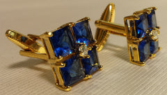 Blue crystal cufflinks set in plated gold