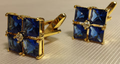 Blue crystal flower cuff links