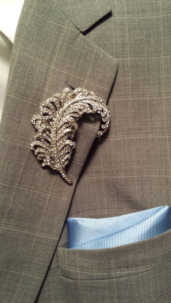 Crystal feather lapel pin